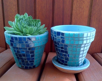 Awesome Herb Garden Kit Gift With Tile Mosaic Pots Blue U0026 White Or Custom Colors