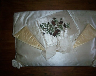 Hand Painted Antique keeper case for accessories, stockings, hankies 1800s lovely colors