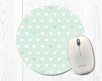 Mousepad Mouse Pad Coworker Gift Heart Mouse Pads Mint Green Mousepad Hearts Mint Mouse Pad Polka Dot Mousepad