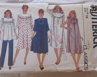 vintage BUTTERICK 4874 MATERNITY Dress, Tunic, Detachable Collars & Pants--  Misses size 10 (1980s)