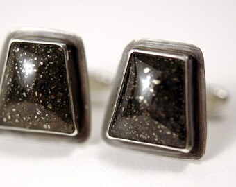 Pyrite in Quartz Cuff Links - father's day - groom - father of the bride - men's jewelry - cufflinks - ready to ship