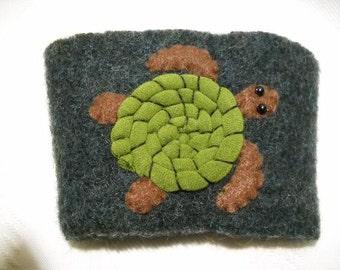 Sea Turtle Felted Wool Coffee Cozy
