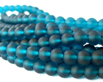 """8"""" 24pcs peacock teal blue 8mm sea beach velvet glass beads matte frosted round recycled"""