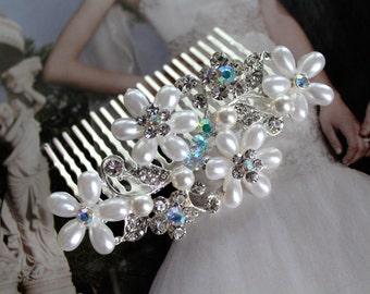 Pearl Rhinestone Bridal Hair Comb, Wedding Hair Comb, Bridal Hair Comb, Wedding Headpiece, Wedding Combs, Hair Accessories