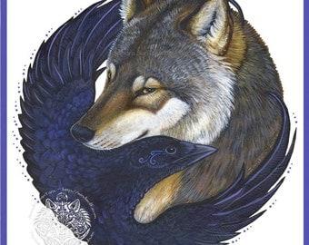 Wolf Crow Embrace Print