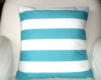 OUTDOOR Nautical Decorative Throw Pillow Covers, Cushions, Aqua White Stripe Pillow,  Ocean, Patio Pillows, Beach Decor 16 x 16