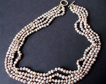 SALE Multi-Strand Champagne Freshwater Pearl Necklace