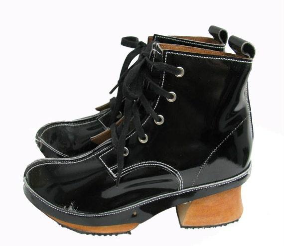 Vintage 1980's John Fluevog Black Patent Leather Derby Clog Boots Wms 6