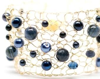 Blue Iolite Bracelet Blue Pearl Bracelet Gold Cuff Bracelet Beaded Arm Cuff Gemstone Bracelet Crystal Bracelet Wire Knit Jewelry
