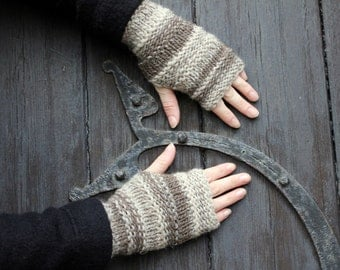 Handknit fingerless gloves, Crinkle mittens in organic pure wool - mixed browns, knitwear UK, gift for her