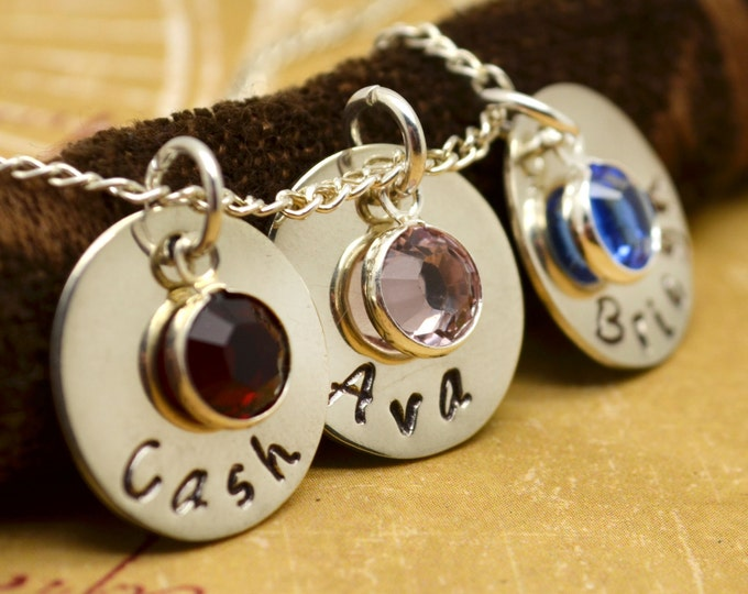 Mommy Personalized Necklace, Hand Stamped Jewelry, Mothers Jewelry Custom Neckace, Mom, Mommy, Mother, Birthstone
