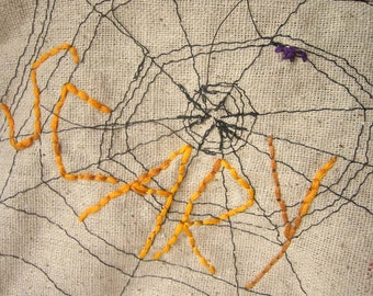 Scary - Zipper Pouch - Hand Embroidered and Machine Stitched Spiderweb - Limited Edition - Halloween Bag - One of a Kind Spider Web Purse