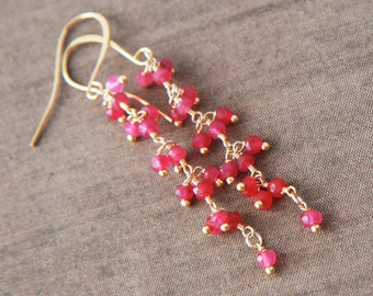 Ruby Earrings,July Birthstone,Gold Earrings,Dangle Earrings,Long Earrings,Gemstone Earrings,Bridesmaid Gift