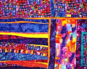 Modern fiber art quilt for sale, an abstract geometric wall hanging City Lights,bright colors metallic highlights