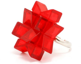 Red star ring made with LEGO bricks