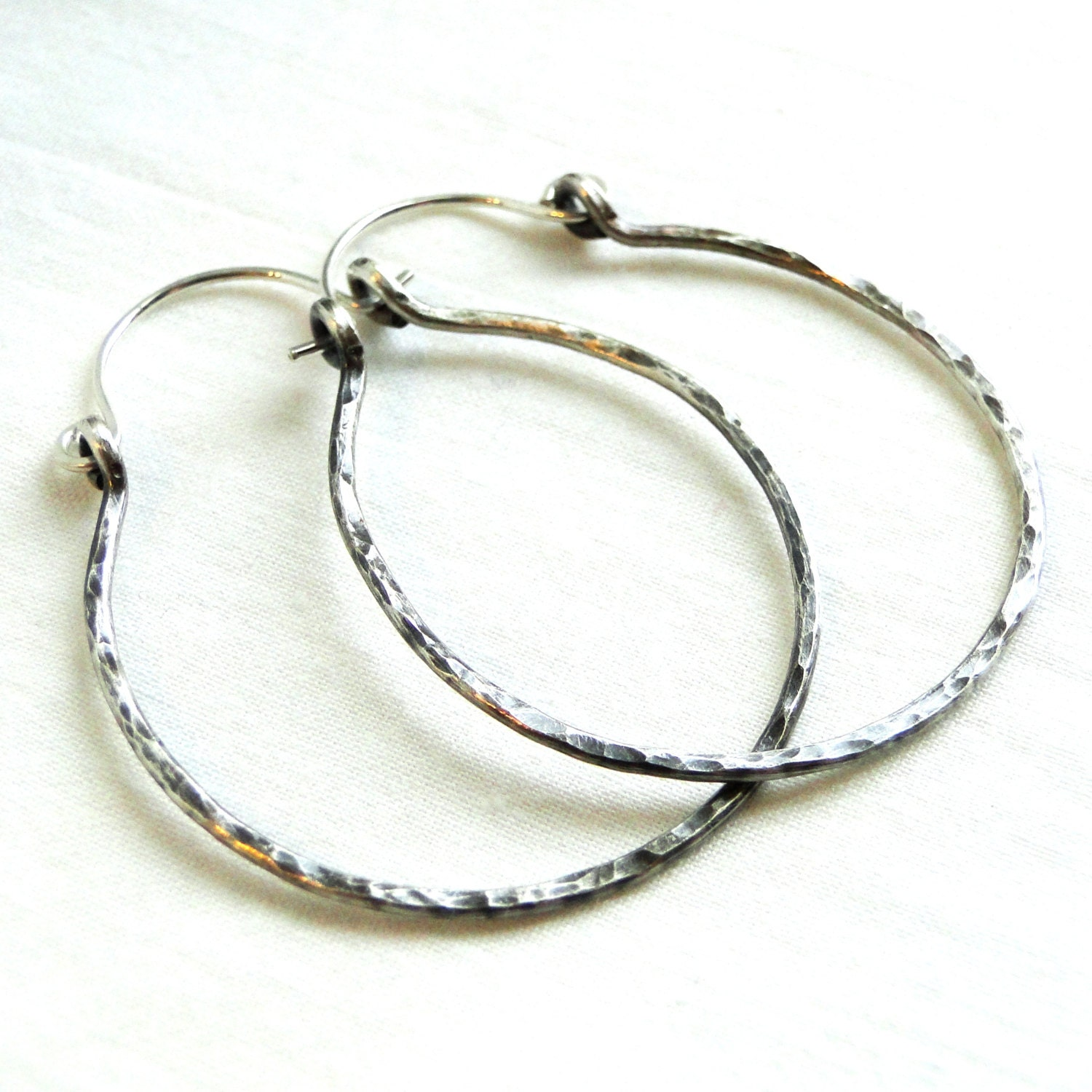 hammered sterling silver wire jewelry hoop earrings extra