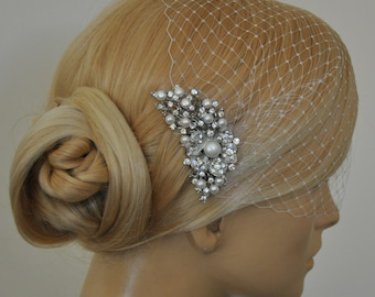 birdcage veil and Freshwater pearls Comb (2 Items) -  Wedding comb,bridal headpieces , rhinestone bridal Hair comb