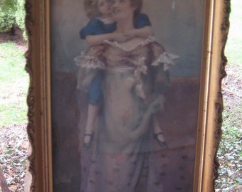 The Perfect Gift For Mom Hand Tinted Mother Daughter Victorian Framed Print