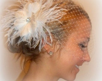 Bridal Fascinator, Birdcage Bandeau Veil - White Feathered Fascinator Wedding Hair Clip 2 piece set