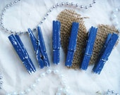 Blueberry & Tofu (Navy/White) Distressed Mini Clothes Pins - Farm House Or Nautical Chic 6 Pack