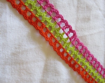 3 yds cotton lace trim - raspberry, lime, and orange - 1 inch wide
