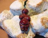 Fancy Red Jasper Goddess / Venus Willendorf Pendant on cord, Fertility, Birth 14t442
