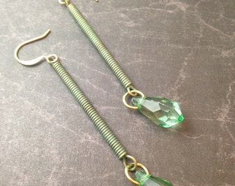 Long Green Steampunk Earrings