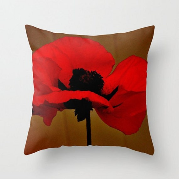 Red Poppy Decorative Pillow : Deep Red Poppy Throw Pillow Cover by PhotosByChipperfield on Etsy