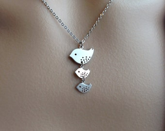 Silver Mommy and Baby Birdies Necklace - gift, Mother's Day, love, mother, expectant mother, grandmother, sister, shower, family, wife, daug
