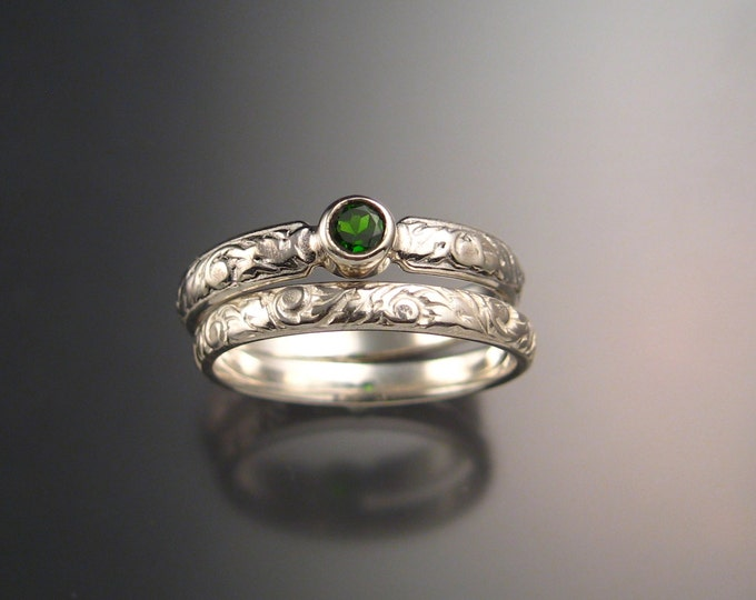 Chrome diopside Wedding set 14k White Gold Emerald substitute Victorian bezel set two ring set made to order in your size