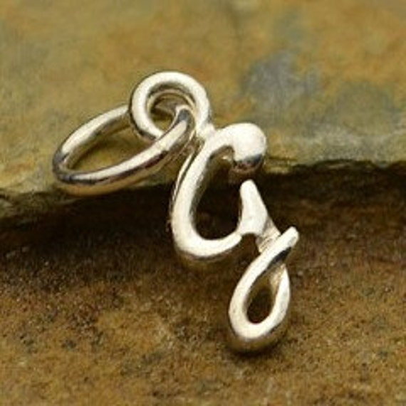 Tiny Sterling Silver Initial Charms- Discontinued Item, Cursive Charms, Tiny Initials, Alphabet Charms