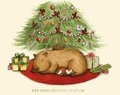 Capy Holidays - Capybara and Guinea pig under the Christmas Tree Art Print