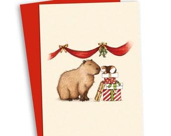 Capy Holidays Mistletoe Christmas Card - Guinea Pig and Capybara