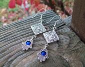 SALE - Hamsa hand Dangle Earrings with Blue Mountain Jade Beaded - Silver Boho Earrings, yoga jewelry, royal blue, silver tile bead