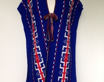 Rich Blue Colored Boho Poncho Jacket Sweater With White And Red Detailing Perfect For Festivals