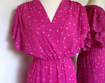Bright Pink Vintage Spring Summer 80s Dress With A Small Blue And White Floral Pattern