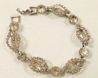 WEISS Signed Rhodium Clear Rhinestone Bracelet