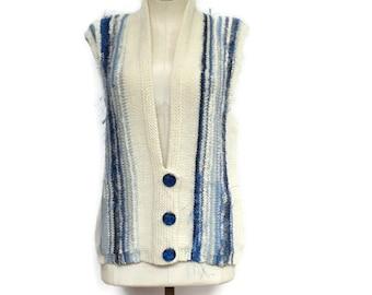 Knit Vest Blue Wool Vest  Mohair Sweater Vest Button Up Vest Hand Knit Vest Hand Tied Yarns Blue and White Vest On Sale