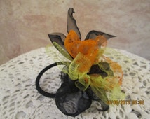 Halloween  ponytail holder - Halloween Hair Bow - Colorful Halloween Hair Bow