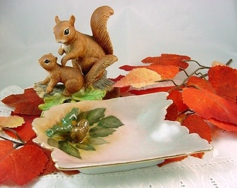 Vintage Hand Painted Porcelain China Pin Tray w Applied Acorns -Fall Autumn Candy Dish Catch-all Trinkets -60s Artist Signed Dated 14K gold