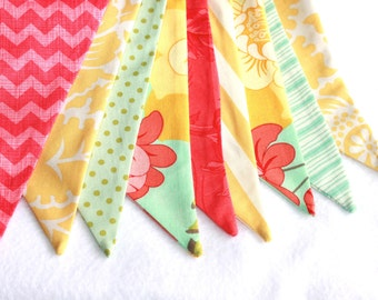 Floral Bunting - Flower Banner - Spring Banner - Fabric Bunting - Mint and Yellow Decor