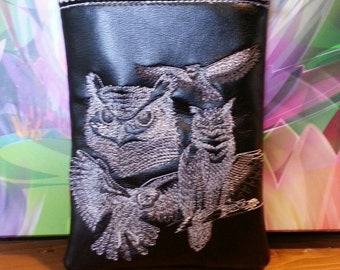 Kindle Fire HD case. Embroidered owl case