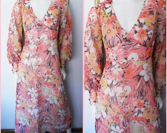 Vtg.70s Coral Floral Chiffon Long Sleeve Maxi Dress.M.Bust 36-38.Waist 29.