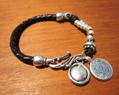 women multi strand genuine brown leather bracelet silver plated  spacers and ethnic coin charms