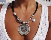 women asymetric tribal bohemian round coin black leather necklace with silver beads