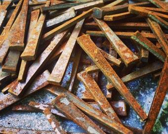 "Square Iron Nails / Coat Hooks / Rustic Nails / 2"" / 12 Nails"