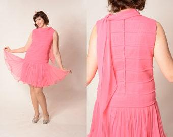 Vintage 1960s Pink Flapper Dress - Drop Waist Gatsby - Spring Fashions