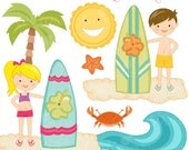 Surfin Fun Cute Digital Clipart - Commercial Use OK - Surf Kids - Kids Surfing - Surfing Graphics, Summer