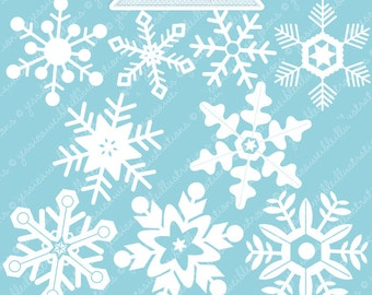 White Snowflakes Cute Digital Clipart - Commercial Use OK - Christmas Graphics - Christmas Clipart - Snow, Snowflake Clipart