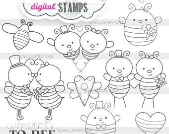 Meant 2 Bee Cute Digital Stamps for Commercial or Personal Use, Bee Wedding Digital Stamp, Bridal Bee Graphics, Meant to Bee Line Art